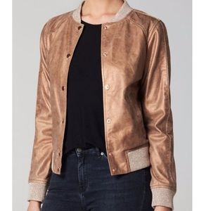 Goosecraft Metallic Crack Leather Bomber Jacket